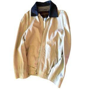 LOUIS VUITTON Men's Ivory LeatherJacket 52/L Rare